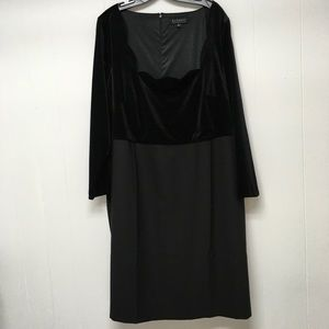Eloquii Cocktail Dress Black Velvet Crepe LBD